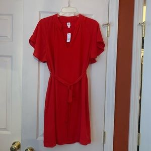 Red Belted Shift Dress